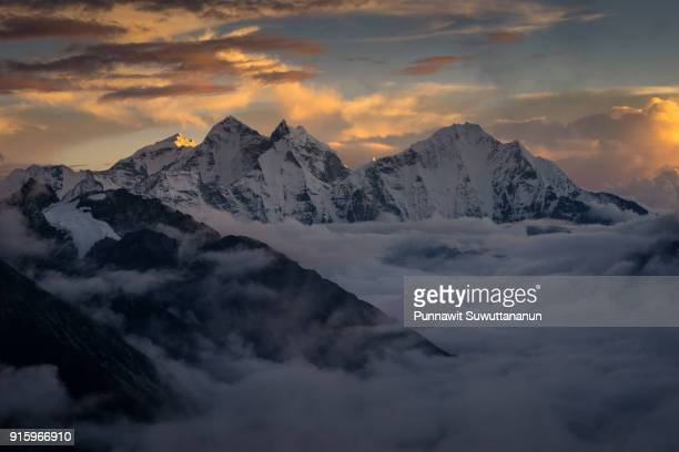 Himalaya mountains peak above the clouds view from Kalapattar, Everest region, Nepal