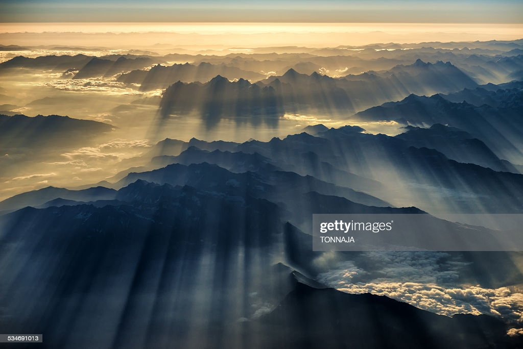 Himalaya range and sunray : Stock Photo