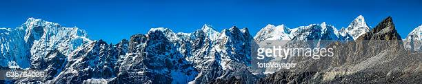 Himalayan mountain peaks super panorama snow summits Everest NP Nepal