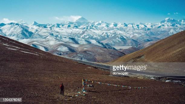 himalayan panorama on mount everest - tibet stock pictures, royalty-free photos & images