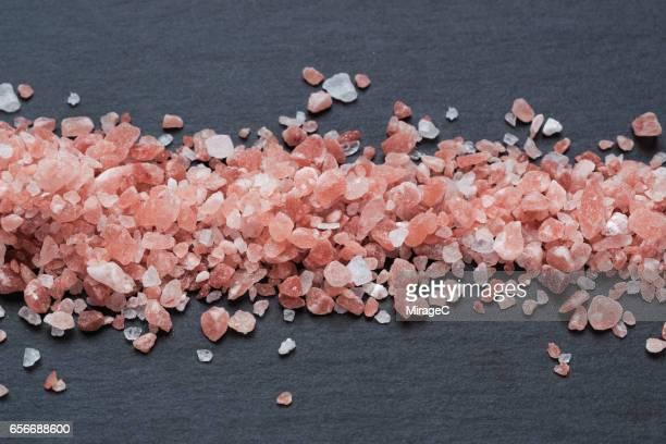 Himalayan Pink Salt on Black Stone Plate