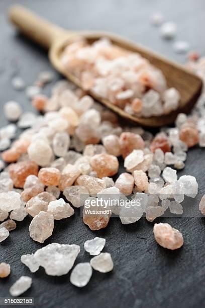 Himalayan salt, Coarse salt on wooden spoon