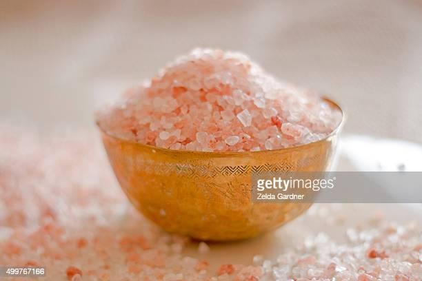 Himalayan salt in copper bowl