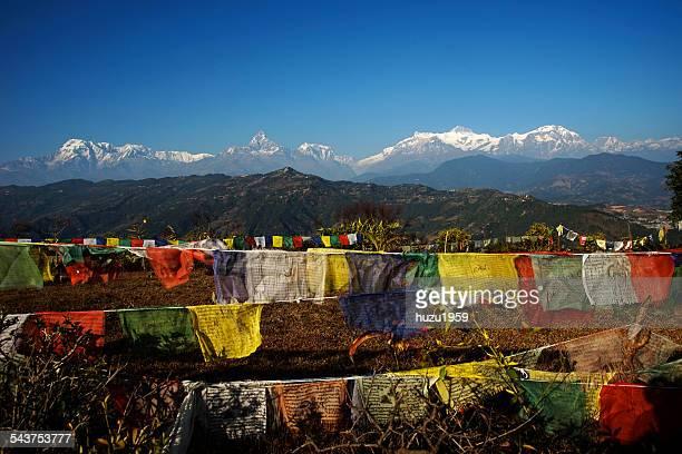 Himalayas and Tibetan Buddhist Flags