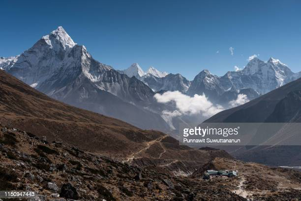 Himalayas mountain range view from Thukla pass in Everest region, Nepal