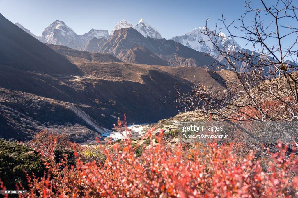 Himalayas mountain view including Kangtega and Thamserku, Everest region, Nepal : Stock Photo