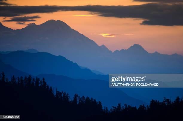 Himalayas range Mountain nature background landscape cloudy