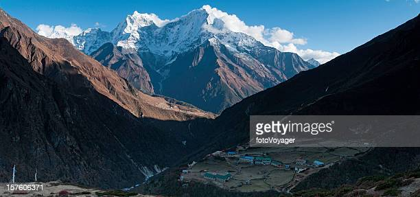 Himalayas Sherpa village snow capped peaks Mt Everest NP Nepal
