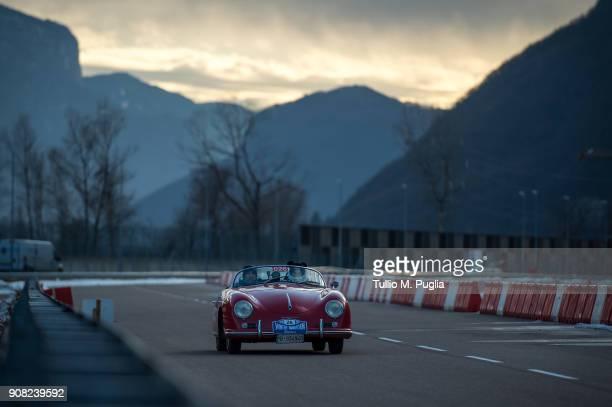 Himara Bottini and Gaetano Derosa on a Porsche 356 Speedster attend Porsche Winter Marathon on January 19 2018 in Trento Italy