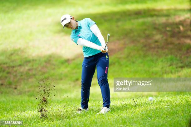 Himawari Ogura of Japan hits her second shot on the 18th hole during the first round of the San-In Goen Musubi Ladies at Daisenheigen Golf Club on...
