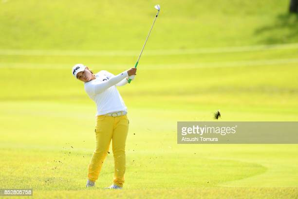 Himawari Ogura of Japan hits her third shot on the 18th hole during the final round of the Miyagi TV Cup Dunlop Ladies Open 2017 at the Rifu Golf...