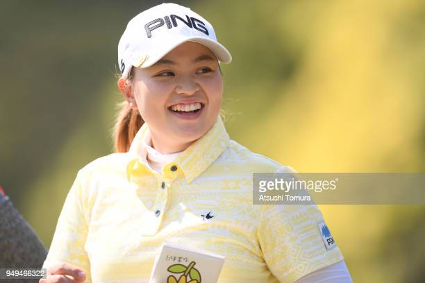 Himawari Ogura of Japan smiles during the second round of the Fuji Sankei Ladies Classic at Kawana Hotel Golf Course Fuji Course on April 21 2018 in...