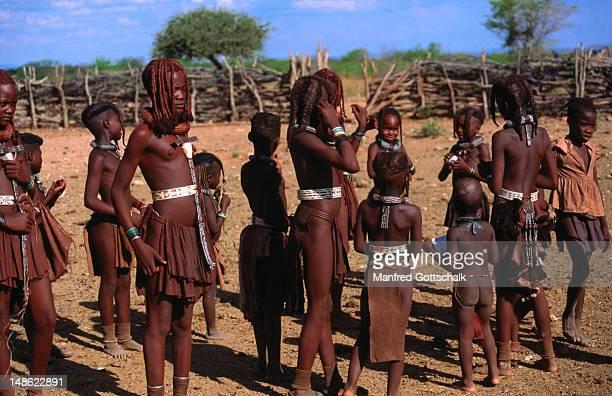 himba children at okangwati hima village, kaokoland - himba stock-fotos und bilder