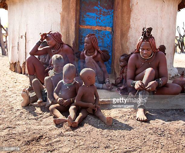 himba tribe family - african tribal culture stock pictures, royalty-free photos & images