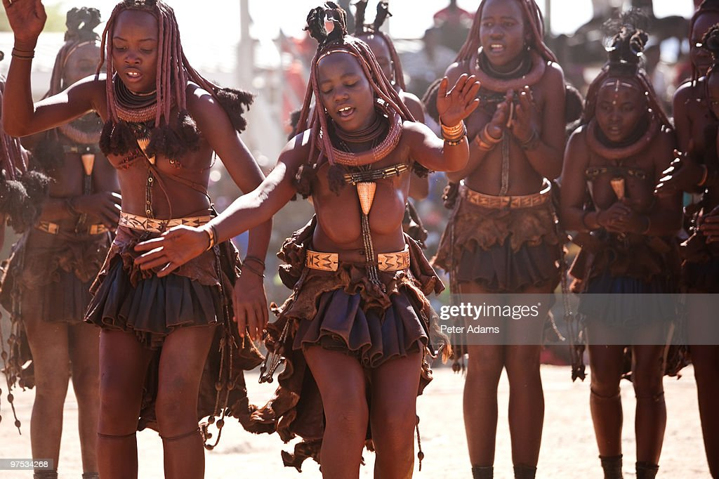 Himba Tribe Girls And Young Women Dancing Namibia Stock ...