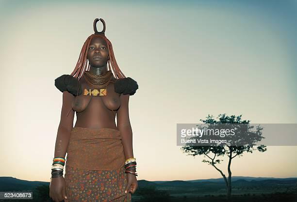 Himba woman at sunrise