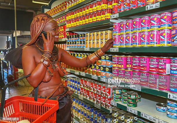 Himba woman in a super market