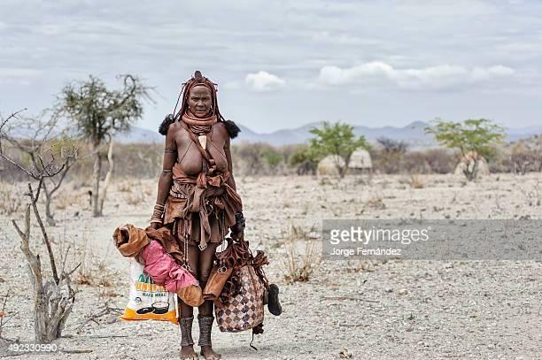 Himba woman ready to travel