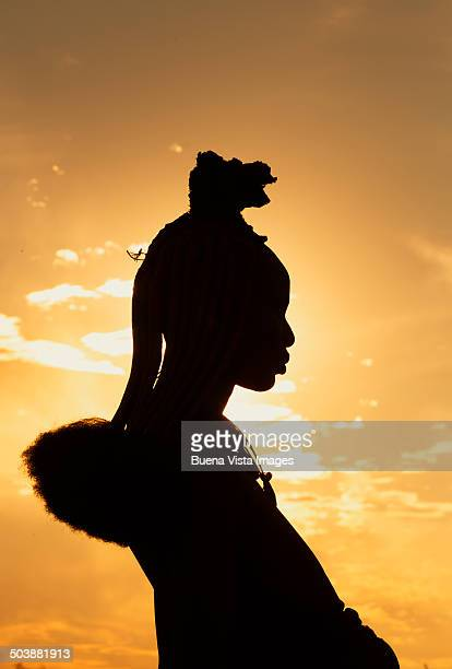 himba woman with traditional hair dress - himba stock photos and pictures