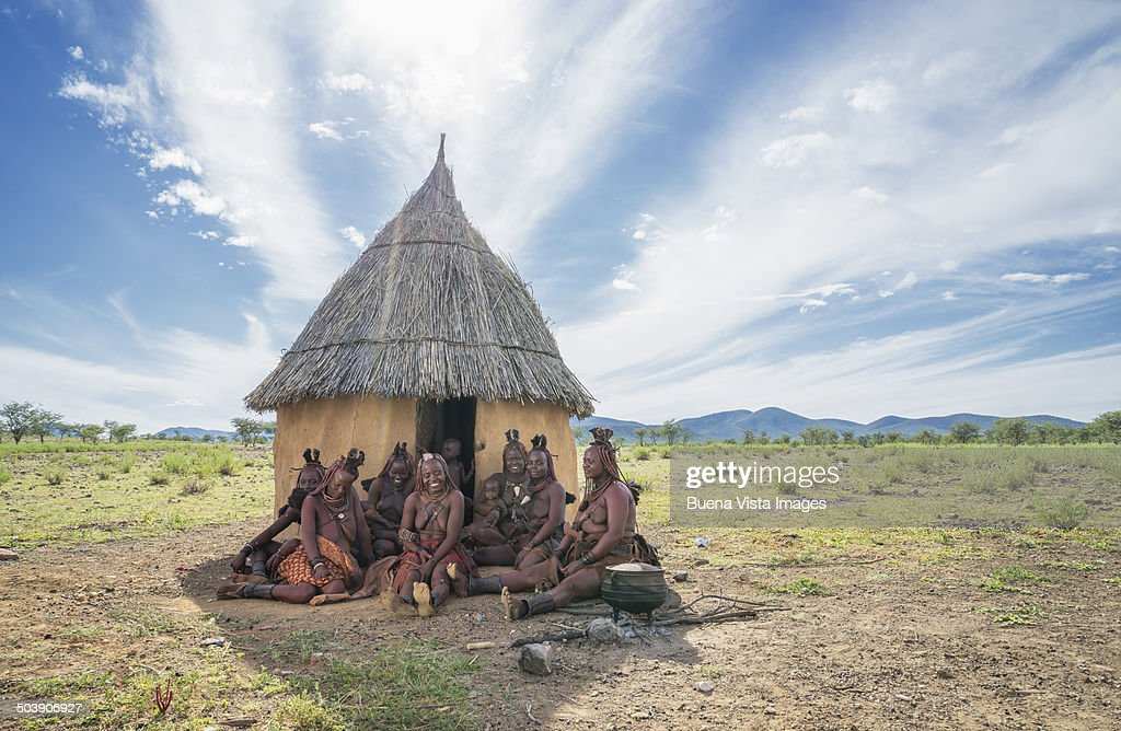 Opuwo Namibia Young Himba Infants In A Himba Tribe Village
