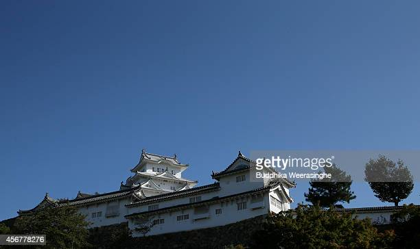 Himeji Castle main tower building and western bailey of the castle complex are seen after five years fullscale restoration work on october 7 2014 in...