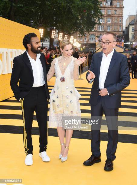 "Himesh Patel, Lily James and Danny Boyle attend the UK Premiere of ""Yesterday"" at the Odeon Luxe Leicester Square on June 18, 2019 in London, England."