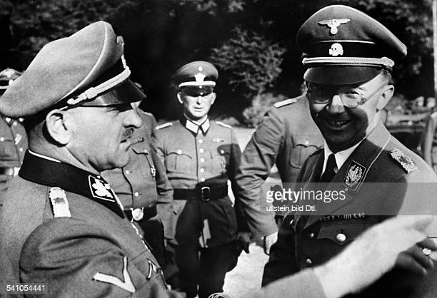 Himmler Heinrich * Politician Nazi Party GermanyHimmler talking to Joseph Dietrich commander of the SS 'Leibstandarte Adolf Hitler' on the occasion...