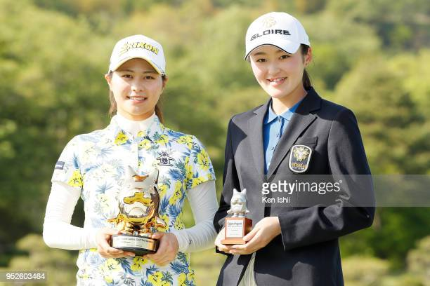 Hina Arakaki and Madoka Kimura of Japan pose for photo after the final round of the CyberAgent Ladies Golf Tournament at Grand fields Country Club on...