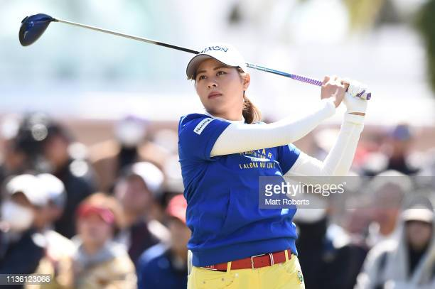 Hina Arakaki of Japan hits a tee shot on the 10th hole during the second round of the Yokohama Tire Golf Tournament PRGR Ladies Cup at Tosa Country...