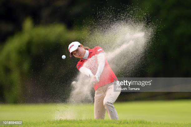 Hina Arakaki of Japan hits from a bunker on the 18th hole during the second round of the CAT Ladies at Daihakone Country Club on August 18 2018 in...