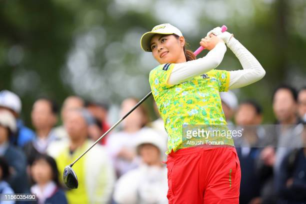 Hina Arakaki of Japan hits her tee shot on the 10th hole during the third round of the Ai Miyazato Suntory Ladies Open Golf Tournament at Rokko...