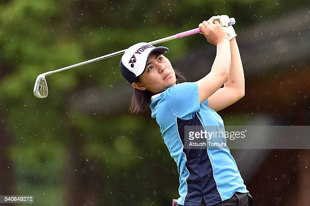 Hina Arakaki of Japan hits her tee shot on the 6th hole during the third round of 2016 TOYOTA Junior Golf World Cup at Ishino Course Chukyo Golf Club...