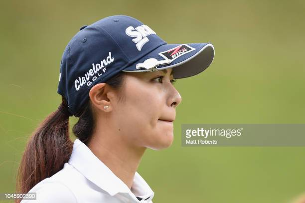 Hina Arakaki of Japan looks on during the first round of the Stanley Ladies at Tomei Country Club on October 5 2018 in Susono Shizuoka Japan