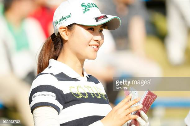 Hina Arakaki of Japan smiles after her putt on the 15th during the second round of the CyberAgent Ladies Golf Tournament at Grand fields Country Club...