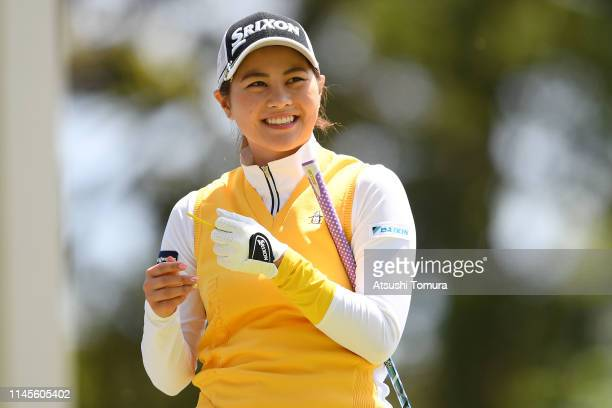 Hina Arakaki of Japan smiles during the final round of the Fuji Sankei Ladies Classic at Kawana Hotel Golf Course Fuji Course on April 28 2019 in Ito...