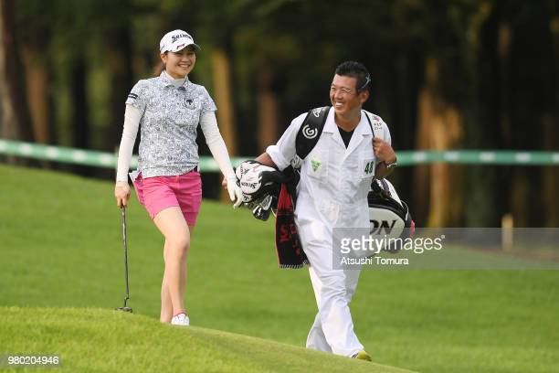 Hina Arakaki of Japan smiles during the first round of the Earth Mondahmin Cup at the Camellia Hills Country Club on June 21 2018 in Sodegaura Chiba...