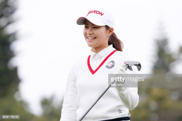 Hina Arakaki of Japan smiles during the second round of the Daikin Orchid Ladies at Ryukyu Golf Club on March 2 2018 in Nanjo Okinawa Japan