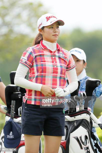 Hina Arakaki of Japan watches on the 9th hole during the first round of the CyberAgent Ladies Golf Tournament at Grand fields Country Club on April...