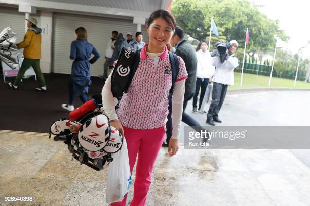 Hina Arakaki walks off the clubhouse as the third round cancelled due to inclement weather on the third round of the Daikin Orchid Ladies at Ryukyu...