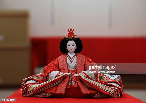 Hina doll is displayed ahead of Hinamatsuri at an outlet of the Izui Ningiyou doll workshop on January 22 2015 in Kato Japan Hinamatsuri or Girl's...