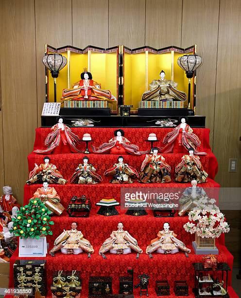 Hina dolls are displayed ahead of Hinamatsuri at Izui Ningiyou doll workshop on January 22 2015 in Kato Japan Hinamatsuri or Girl's Day is celebrated...
