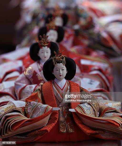 Hina dolls are displayed ahead of Hinamatsuri at Kishimoto Ningyou doll workshop on January 22 2015 in Ono Japan Hinamatsuri or Girl's Day is...