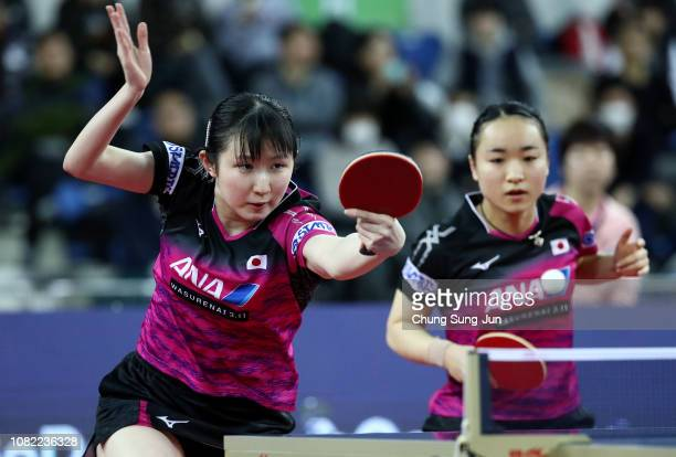 Hina Hayata and Mima Ito of Japan compete in the Women's Doubles Semifinals against Jeon Jihee and Yang Haeun of South Korea during day two of the...