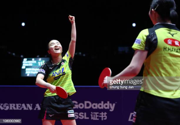 Hina Hayata and Mima Ito of Japan reacts after winning the Women's Doubles Finals against Chen Xingtong and Sun Yingsha of China during day four of...