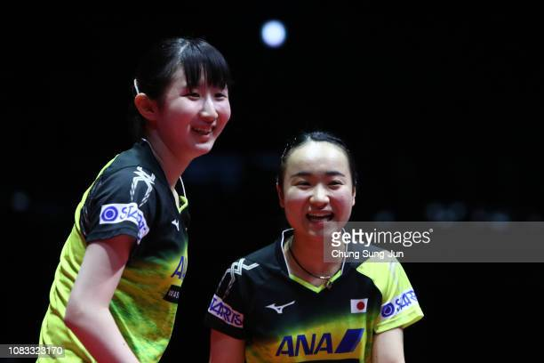 Hina Hayata and Mima Ito of Japan reacts in the Women's Doubles Finals against Chen Xingtong and Sun Yingsha of China during day four of the World...