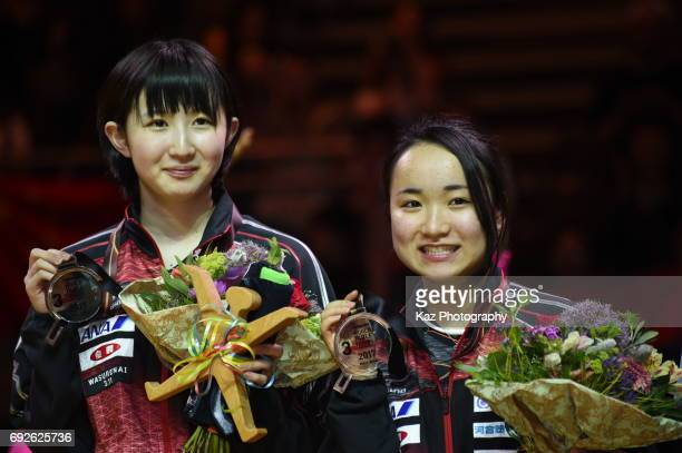 Hina Hayata and Mima Ito of Japan won the bronze medal during the Table Tennis World Championship at Messe Duesseldorf on June 5 2017 in Dusseldorf...