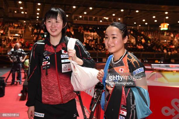 Hina Hayata and Mima Ito of Japan won the silver medal in Women Doubles at Messe Duesseldorf on June 5 2017 in Dusseldorf Germany