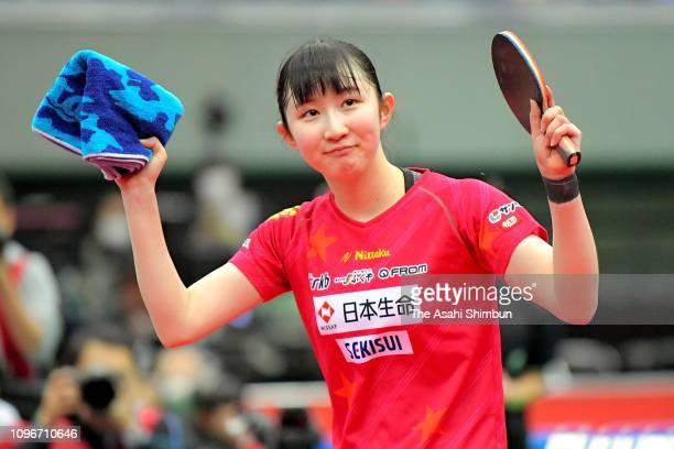 Hina Hayata celebrates winning the Women's Singles quarter final against Saki Shibata in the Men's Singles Quarter final against Maharu Yoshimura on...