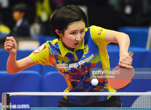 Hina Hayata competes in a Junior Women's Singles match during day two of the All Japan Table Tennis Championships at Tokyo Metropolitan Gymnasium on...