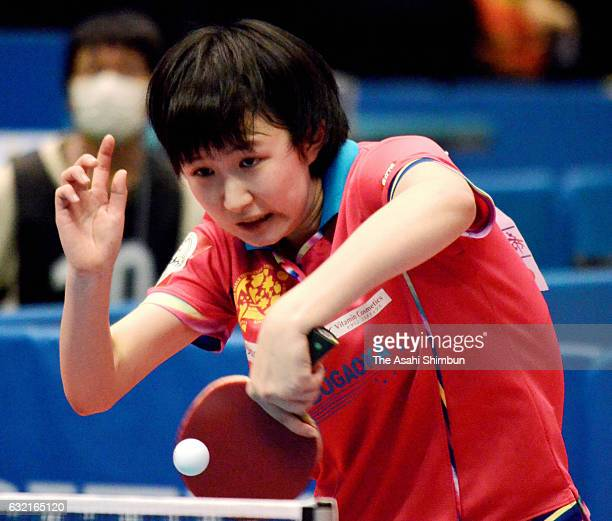 Hina Hayata competes in her Women's Singles third round match during day four of the All Japan Table Tennis Championships at Tokyo Metropolitan...